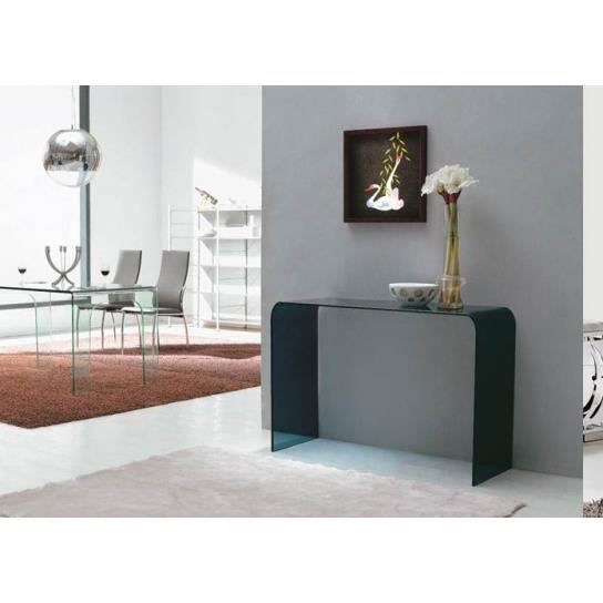 console en verre tremp noir transparent achat vente. Black Bedroom Furniture Sets. Home Design Ideas