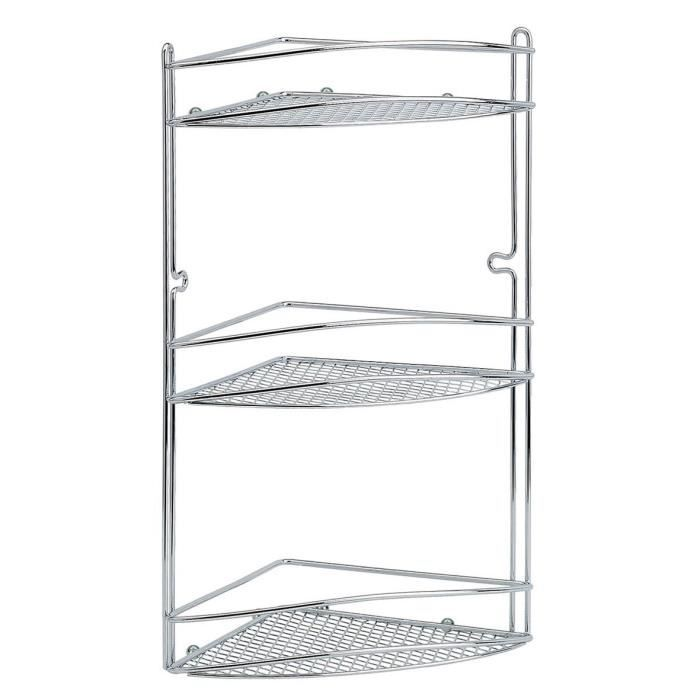 etagere angle ventouse 3 etages fil chrome achat vente etag re murale etagere angle ventouse. Black Bedroom Furniture Sets. Home Design Ideas