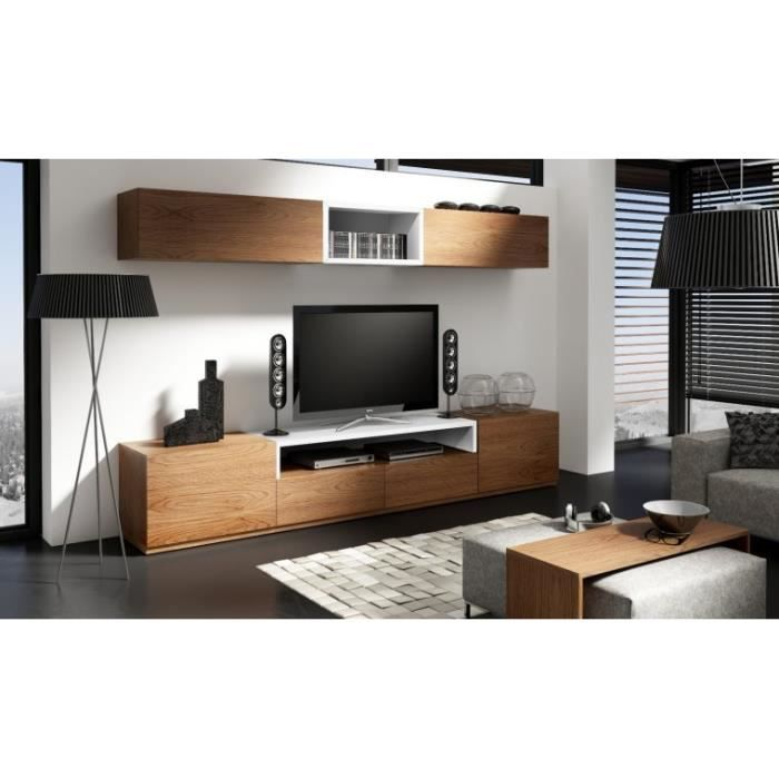 meuble tv moderne notte c avec meuble haut 3pieces chene. Black Bedroom Furniture Sets. Home Design Ideas