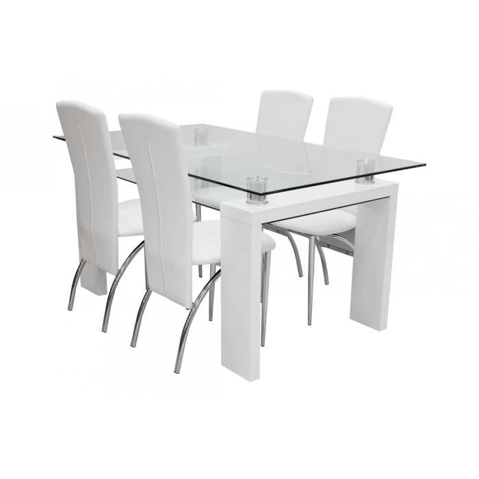 Table manger 4 chaises fiesta blanc achat vente for Chaises table a manger