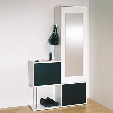 vestiaire 3 portes miroir blanc noir achat vente meuble d 39 entr e vestiaire 3 portes miroir b. Black Bedroom Furniture Sets. Home Design Ideas