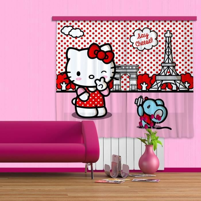 hello kitty rideau voilage pour chambre d 39 enfant achat vente voilage cdiscount. Black Bedroom Furniture Sets. Home Design Ideas