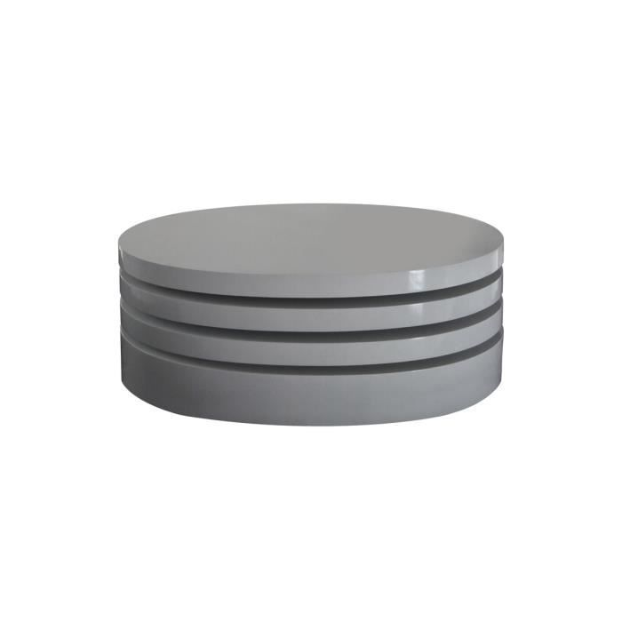 Table basse ronde modulable bois mdf gris blin salon - Table basse modulable pas cher ...