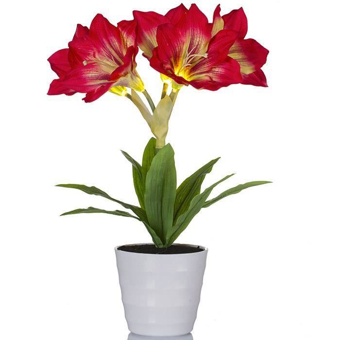 Plante artificielle lumineuse amaryllis rouge achat for Plante lumineuse