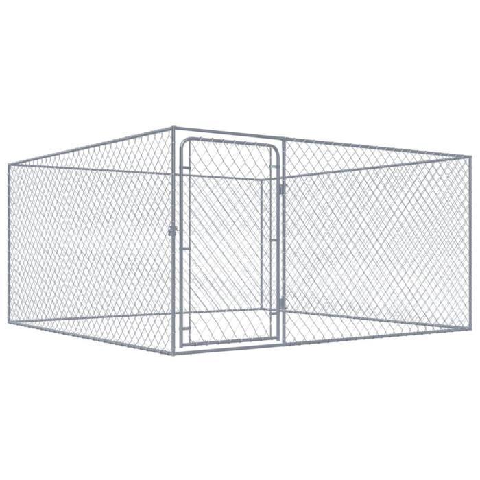 Chenil Extérieur | Clôture Cage Enclos Jardin Chenil | Enclos pour Chien  Acier Galvanisé 2 x 2 m-5