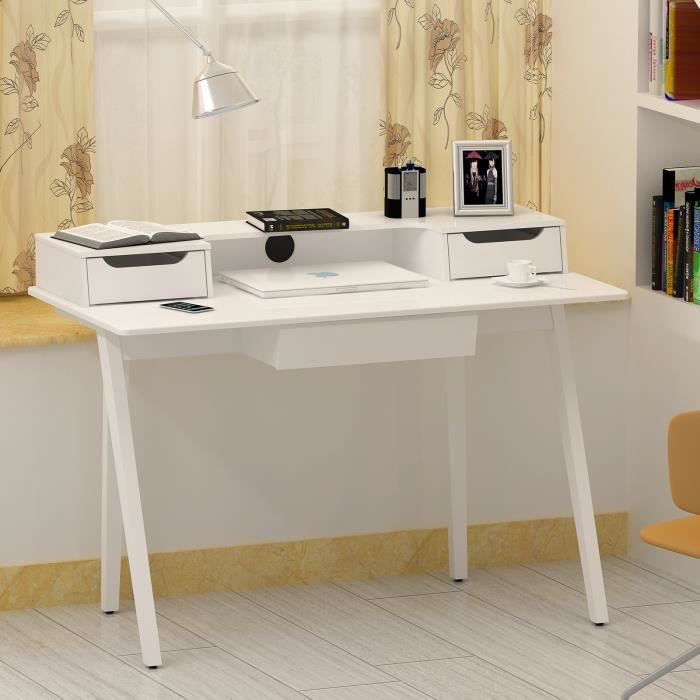 bureau informatique coiffeuse table de maquillage avec 3 tiroirs 120 x 59 x 87 cm l x l x h. Black Bedroom Furniture Sets. Home Design Ideas