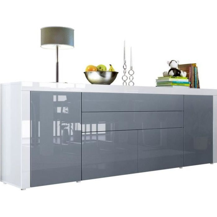 buffet gris blanc haute brillance 200 cm achat vente buffet bahut buffet gris blanc. Black Bedroom Furniture Sets. Home Design Ideas