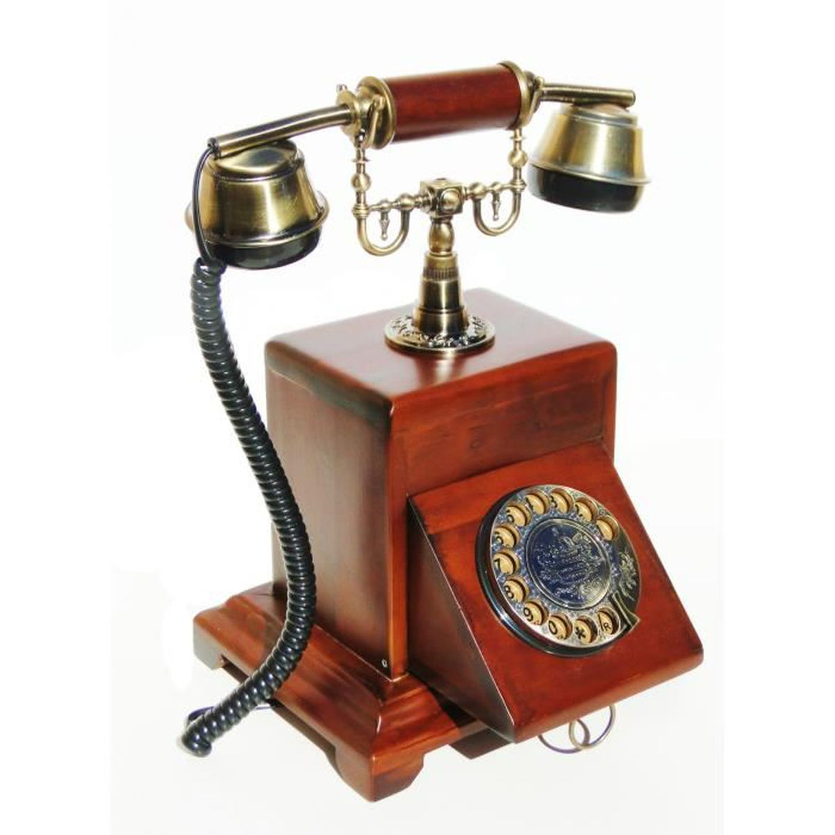 t l phone fixe antique 1930 en bois vintage style r tro fonctionnel clavier a touche retractable. Black Bedroom Furniture Sets. Home Design Ideas