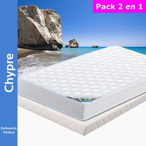 ENSEMBLE LITERIE Chypre - Pack Matelas + Tapissier 140x190