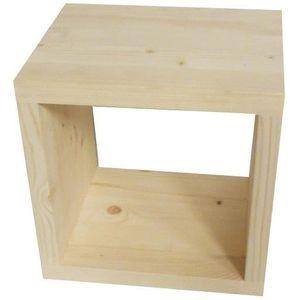 Cube De Rangement En Bois Brut 43x35x42 5cm Achat Vente