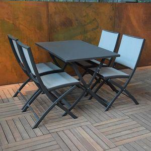 TABLE DE JARDIN  Table pliante rectangulaire en alu anthracite 110