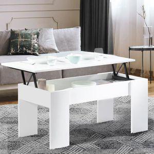TABLE BASSE Table basse avec plateau relevable bois blanc