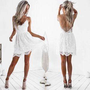 ROBE Femmes V-cou dentelle Backless robe blanche Party