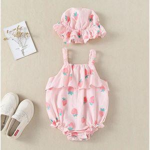 Ensemble de vêtements Enfant nouveau-né bretelles Bébés filles Imprimer