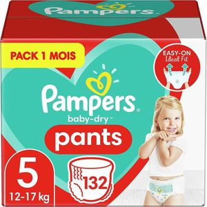 COUCHE LAVABLE PAMPERS Baby-Dry Pants Taille 5, 12-17kg, 132 Couc