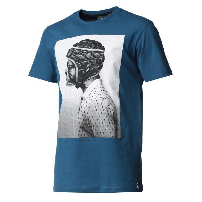 RUGBY DIVISION - Tee shirt manches courtes BULLDOG bleu canard