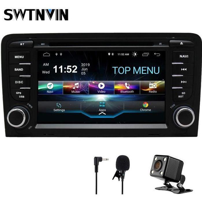 SWTNVIN Autoradio stéréo Android 9 pour Audi A3 Lecteur DVD Radio 7- Écran Tactile HD Navigation GPS avec Bluetooth WiFi Com 2874