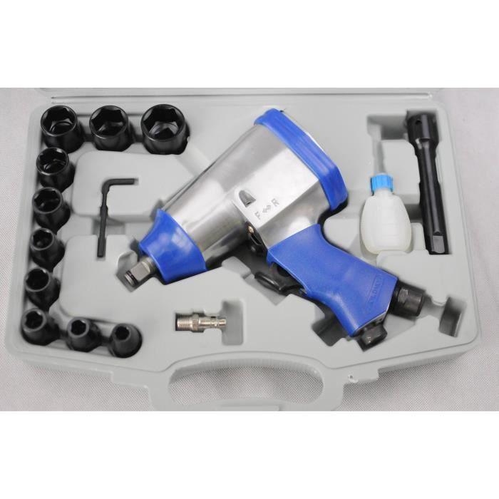 Coffret clé à choc pneumatique 1-2- + accessoiresCoffret comprenant : 10 douilles 9-10-11-13-14-17-19-22-24-27 mm1 rallonge1