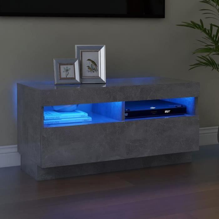 MAGIC®Meuble banc TV - Meuble TV avec lumières LED-Meuble Television moderne Gris béton 80x35x40 cm Meuble de salon,80 x 35 x 40 cm