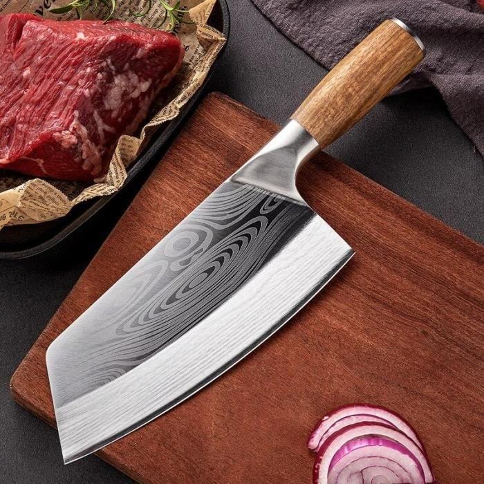 Couteau de Chef Boucher Chinois - Couteau de Cuisine Professionnel en Acier Inoxydable - 8 Pouces
