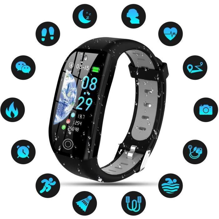 Montre Connectée Femmes Homme Enfant IP68 Etanche Bracelet Connecté Smartwatch pour iPhone Huawei Samsung Xiaomi Sony-Gris