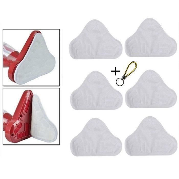 Lot de 6 lingettes microfibres lavables pour Balai Nettoyeur H2O H20 X5 Blanc LIKK7082