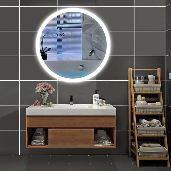 AICA Miroir led rond Φ70cm Miroir cosmétiques , Anti-buée, 24W Interrupteur Tactile Miroir salle de bain miroir design