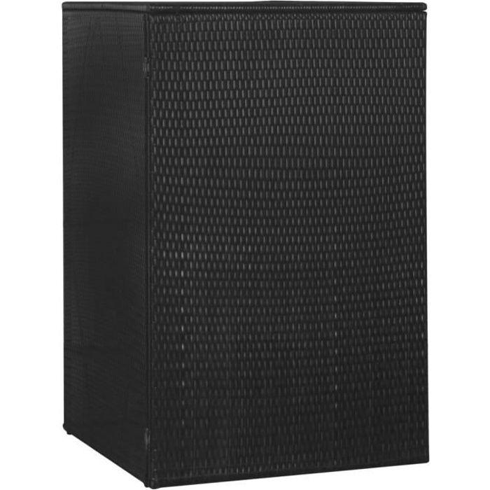 CEN Abri de poubelle simple Noir 76x78x120 cm Résine tressée