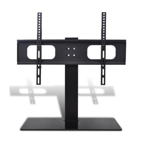 Pied TV sur Socle Meuble TV Design en Verre Trempé Support TV Pivotant à Téléviseur de 32 à 70 Pouces Noir HB051 -BOT A