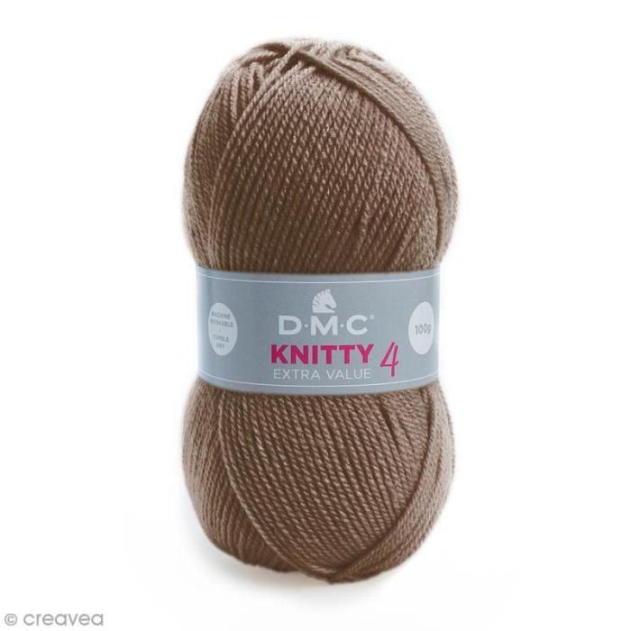 Laine Knitty 4 DMC - 100 g Laine Acrylique Knitty 4, de DMC :Coloris: Marron taupe 927Matière : 100 % acrylique Poids : 100 g