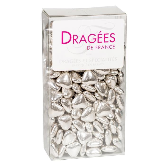 DRAGEES DE France - Petits Cœurs Chocolat - Argent 250G