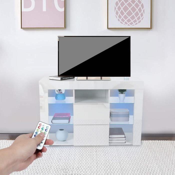 Meuble TV d'angle brillant LED (blanc) -JNG