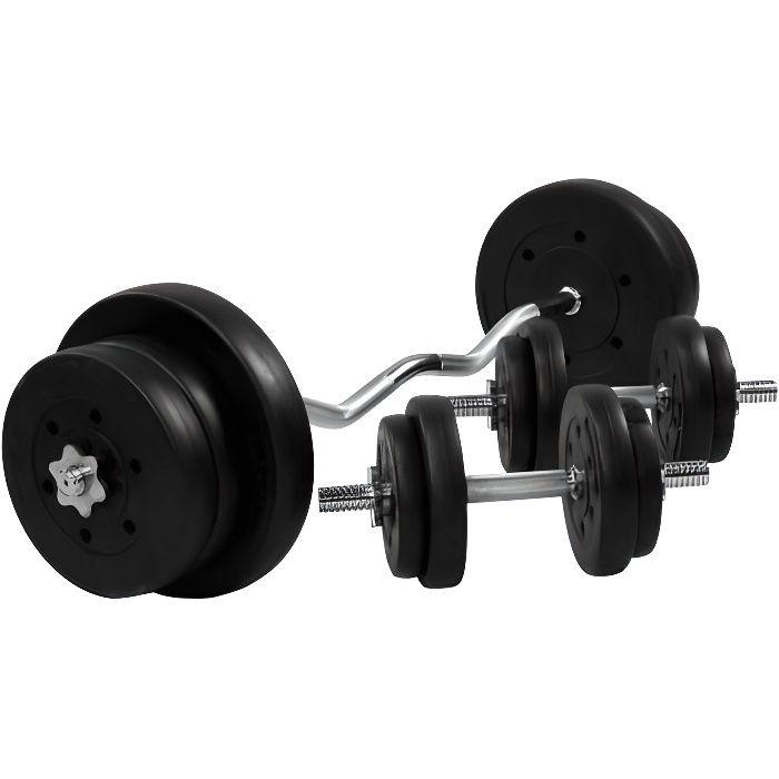 Gorilla Sports - Set d'haltères avec disques revêtement plastique + barre Curl 68 Kg