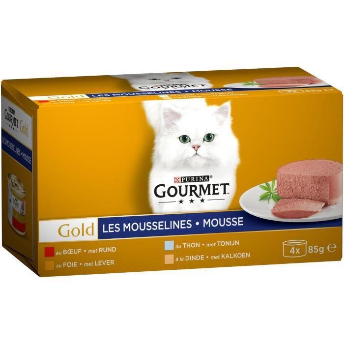 GOURMET Pâtée Gold mousseline pour chat - 4 x 85g