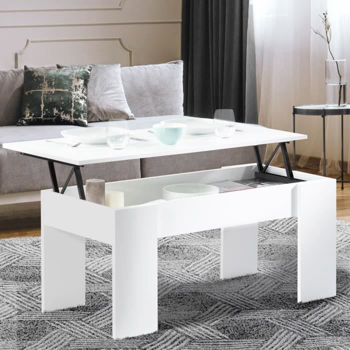 ID MARKET - Table basse plateau relevable TARA bois blanc