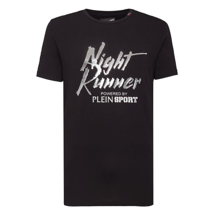 PLEIN SPORT Tshirt - Black - For Men - édition -Night Runner- - Référence : MTK2743SJY001N0270