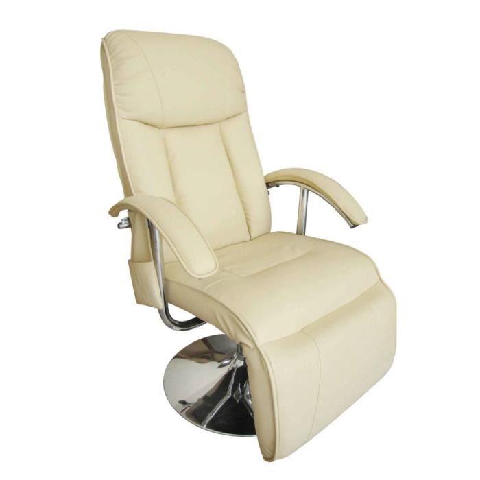 Fauteuil de massage électrique Cuir artificiel Crème Fauteuil canapé sofa relaxation massant