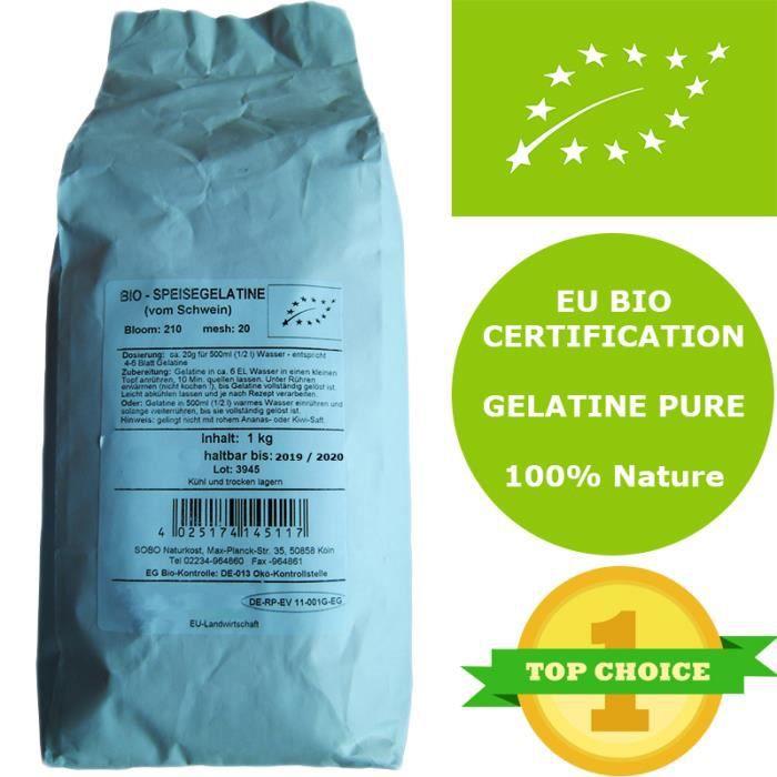 Gélatine bio en Poudre Sobo Originale - 1 Kg (20g pour 0.5 litre) - Première poudre de gélatine bio au monde - Gélatine 100% pure éc