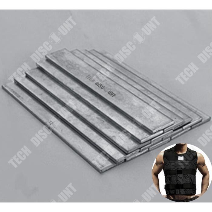 TD® Plaque d'Acier pour gilet de Poids 2.2 kg/ Plaque pour Gilet de Musculation/ Plomb pour Gilet de Charge
