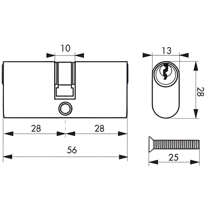 Cylindre de serrure Ovale à double entrée - 28 x 28 mm