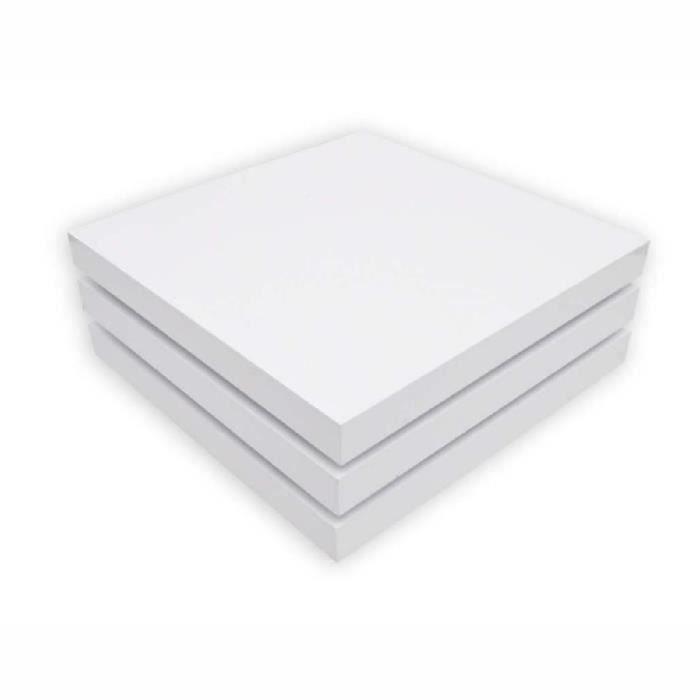 Table basse Café 3 couches carrée pivotante blanc laqué
