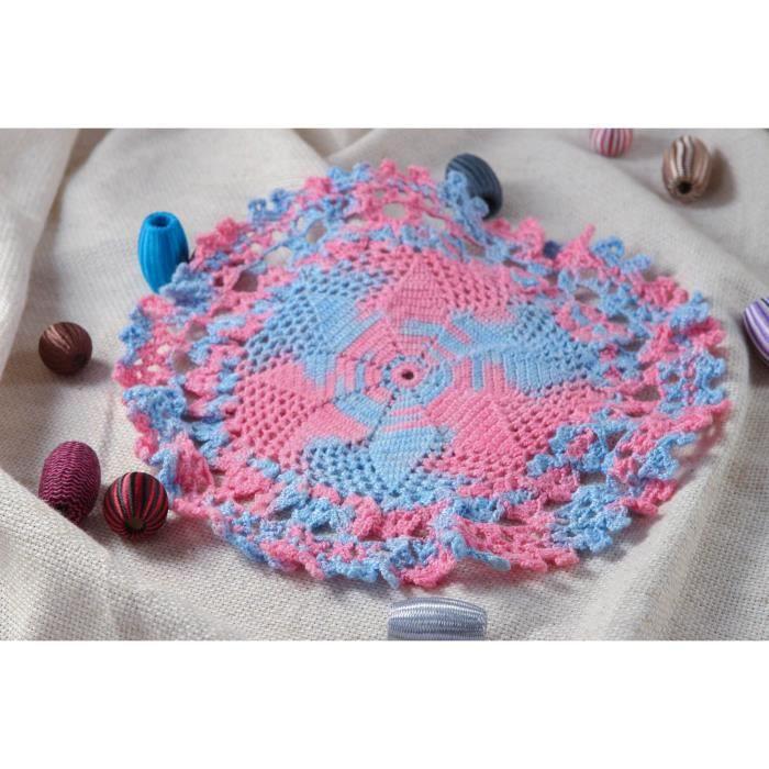 Napperon Tricot Fait Main Deco Cuisine Rose Bleu Ciel Cadeau Femme
