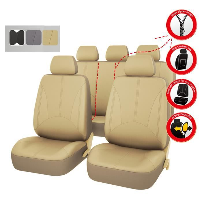 car pass housse de si ge voiture universelle en cuir compatible airbag r sistant et lavable. Black Bedroom Furniture Sets. Home Design Ideas