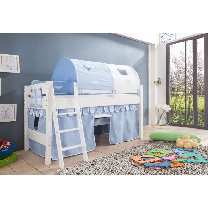 lit mi hauteur enfant coloris blanc d co bleu c achat. Black Bedroom Furniture Sets. Home Design Ideas
