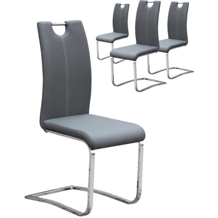Beau chaise simili cuir gris 11 lot de 4 chaises en for Chaise en simili cuir