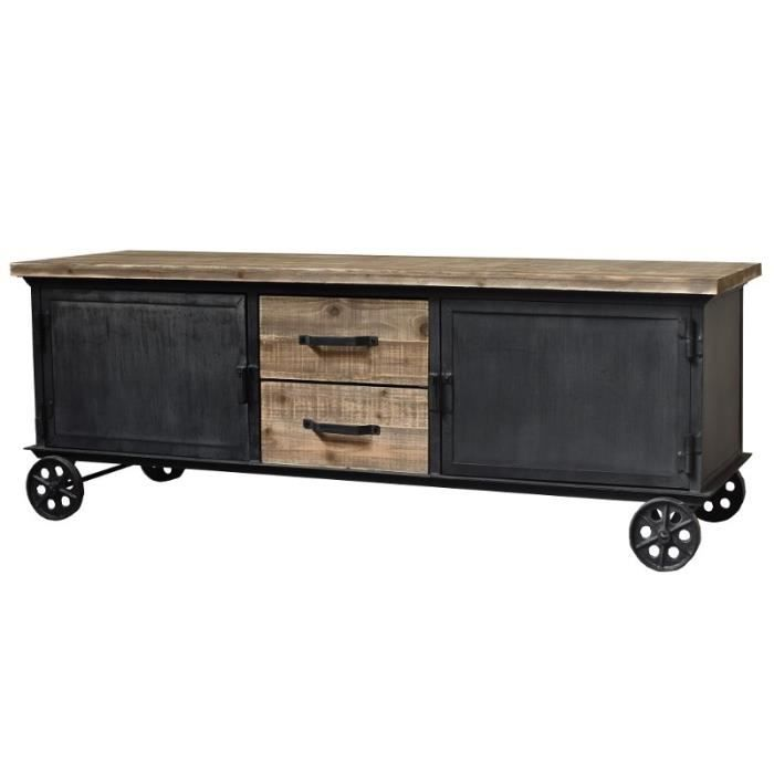 meuble t l tv enfilade bahut sur roulettes fer bois. Black Bedroom Furniture Sets. Home Design Ideas