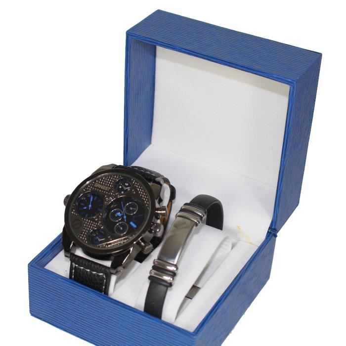 coffret montre homme gros cadran only the brave gourmette acier inoxydable stainless steal. Black Bedroom Furniture Sets. Home Design Ideas