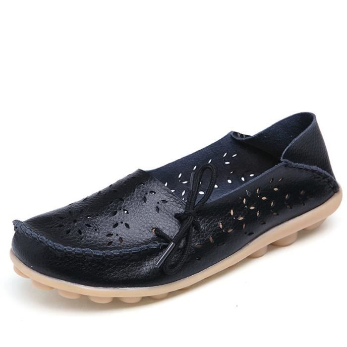 Women' S Leather Loafers Casual Moccasin Driving Outdoor Shoes Indoor Flat Slip-on Slippers PUQUB Taille-39 TuUd3NM