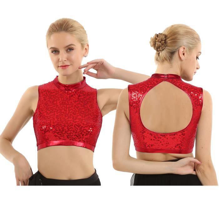 9 couleurs Nylon Lycra Danse//Gymnastique Sans Manches Col roulé Crop Top En