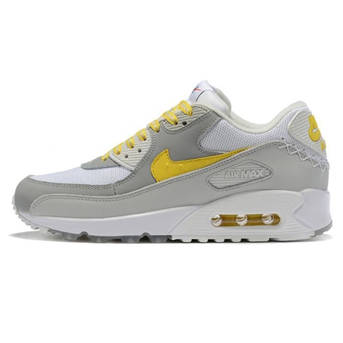 Nike Baskets AIR MAX 90 Chaussures de Course homme Blanc jaune ...